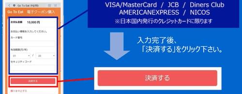 クレジット情報の入力と決済ボタン