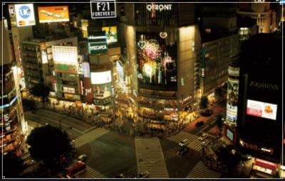 夜の渋谷の風景