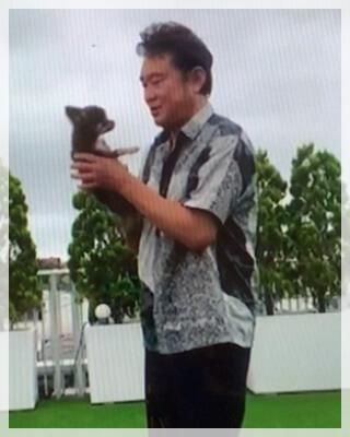 船越英一郎と愛犬レオ画像