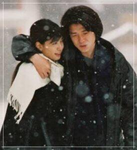 「北の国から遺言」で抱き合う内田有紀と吉岡秀隆